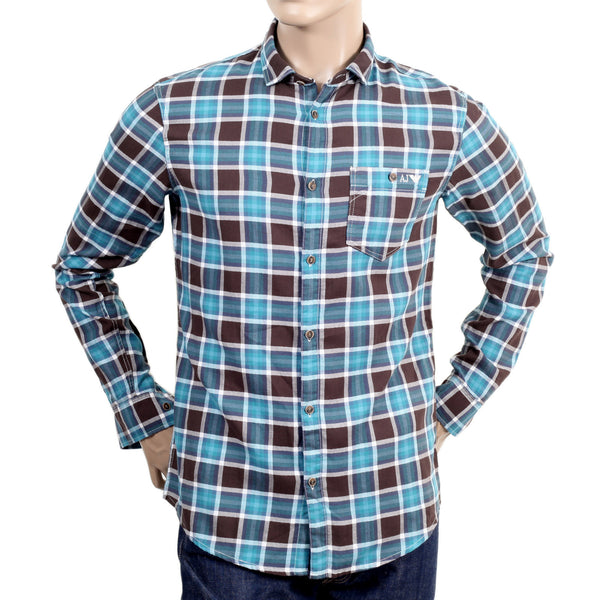 Armani Brushed cotton blue and brown check men's shirt - Kitmeout