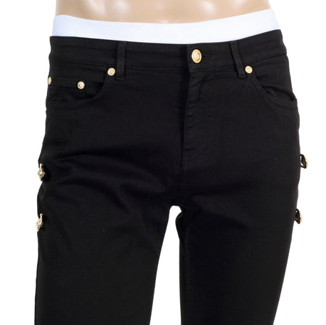 Versace mens black jeans with gold safety pins