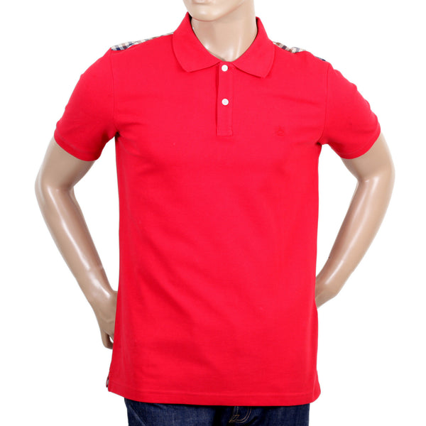 Aquascutum Cotton Red & Check Polo Shirt - Kitmeout