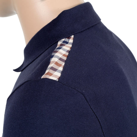 Aquauscutum Navy Polo Shirt With Club Check Patch - Kitmeout