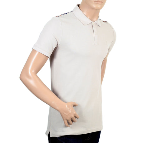 Aquascutum Mens Beige Polo Shirt with Check Trim - Kitmeout
