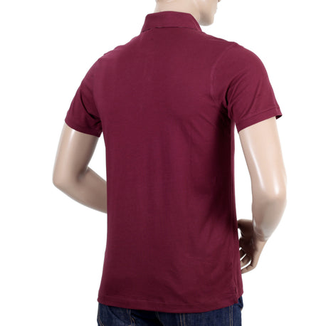 Aquascutum Short Sleeve Polo Shirt in Burgundy - Kitmeout