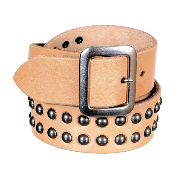 Sugar Cane Mens Beige Leather Garrison Belt with Studs