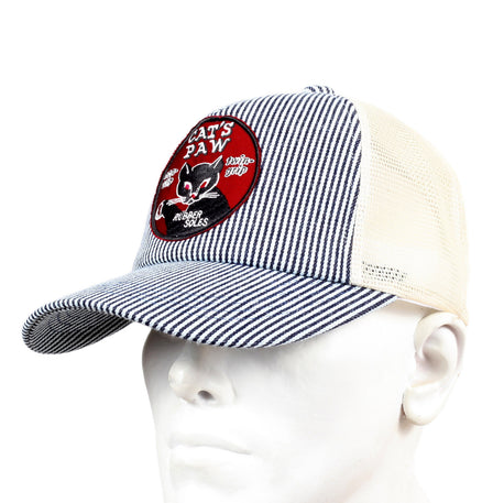 Off White Mesh Back Hickory Narrow Striped Truckers Cap for Men by Cats Paw