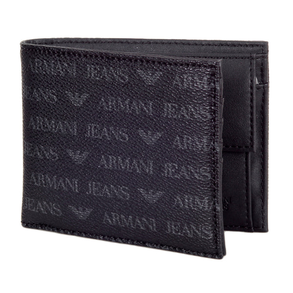 Armani Jeans Logo Double Billfold Wallet in Black - Kitmeout