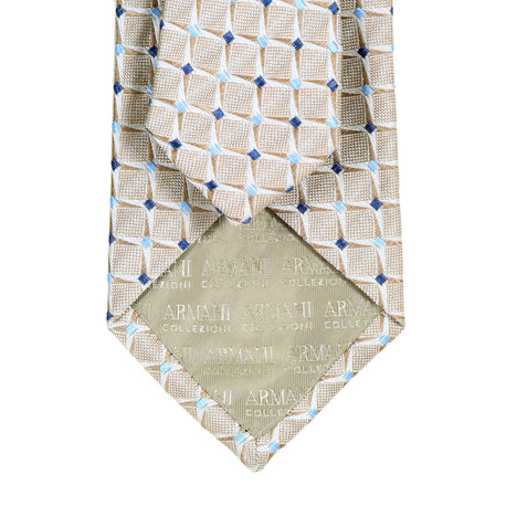 Giorgio Armani Ties Flax Beige Woven Silk Tie with Navy and Sky Blue Diamonds - Kitmeout