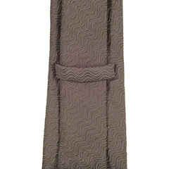 Giorgio Armani Espresso Brown Silk Mix Tie with Logo Jacquard Lining