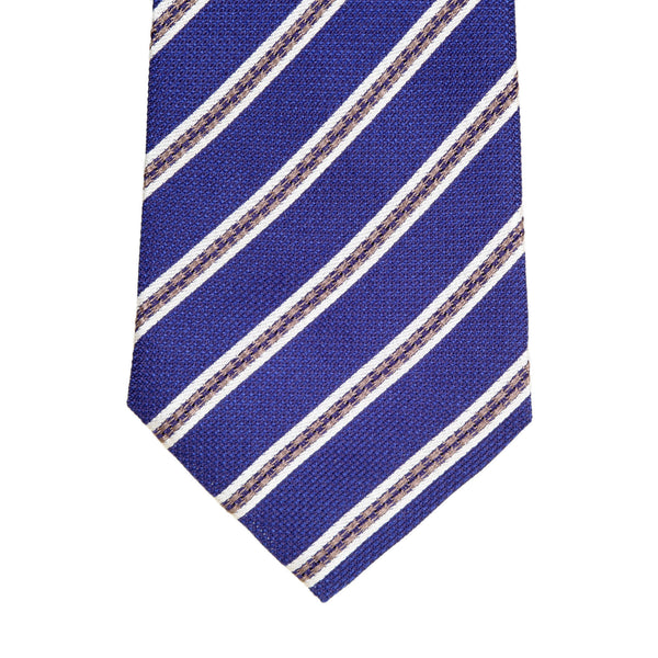 Giorgio Armani Off White and Brown Diagonal Stripe Patterned Blue Woven Silk Tie