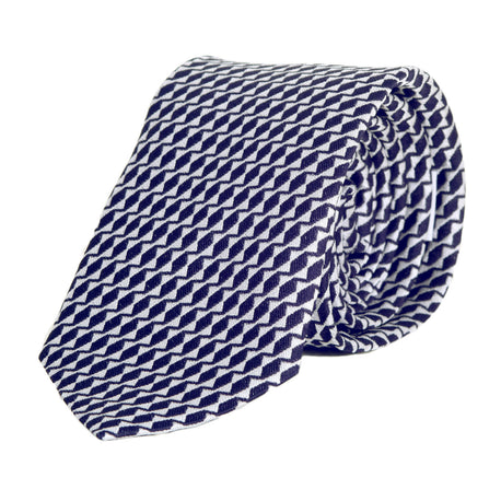 Giorgio Armani Patterned Silk Tie in Navy Blue - Kitmeout