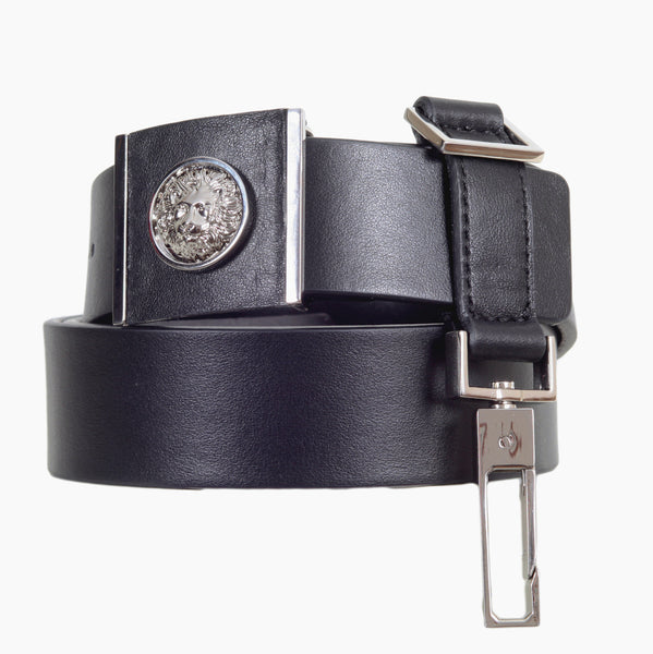 Versace Silver Nickel Lion Head Leather Belt in Black