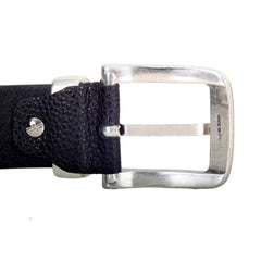 Armani Jeans Black Leather Belt for Men with Rectangular Vintage Finished Belt Buckle - Kitmeout
