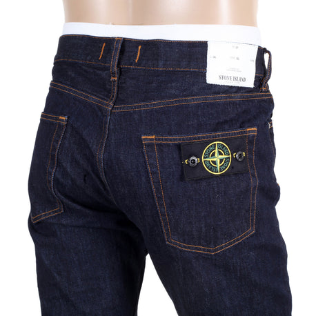 Stone Island Indigo Slim Fit Men's Denim Jeans with detachable logo badge