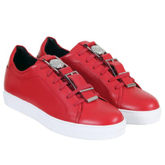 Versace Sneakers Red Leather Versus Laced Trainers with White Rubber Sole - Kitmeout