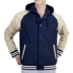Carhartt Jackets Navy Campbell Hooded Jacket with Beige Sleeves - Kitmeout