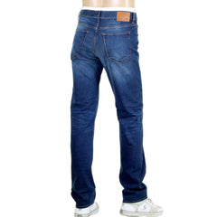 Hugo Boss Black Jeans Maine 1 Blue Stretch Denim Jeans for Men with Fading - Kitmeout