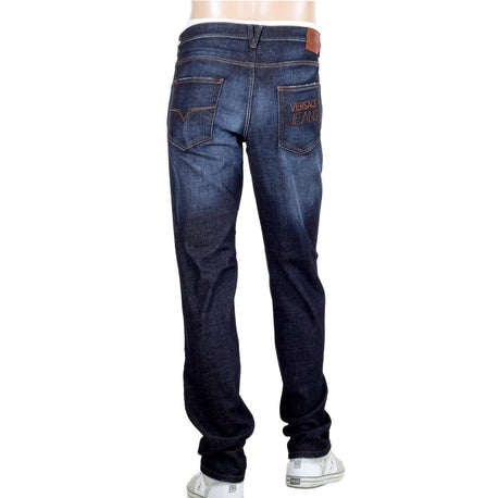 Stretch Denim Jeans for Men by Versace with Embroidered Logo on the Back Pocket - Kitmeout