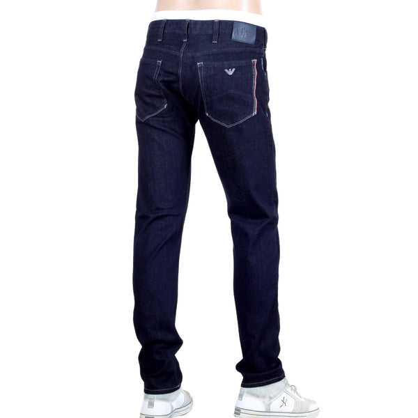 J23 Armani Jeans with Red Selvedge Trim. Classic washed dark denim. - Kitmeout