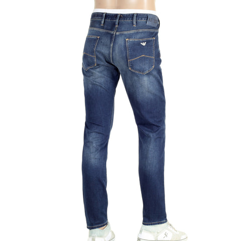Armani Jeans Faded J06 Low Waist Tight Leg Slim Fit Blue Denim Jeans - Kitmeout