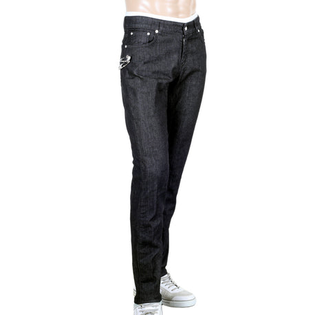 Versace Slim Fit Versus Stretch Black Denim Jeans with Removable Lion Head Safety Pins - Kitmeout