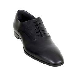 Hugo Boss Shoes Almond Toe Black Leather Derby Shoes - Kitmeout