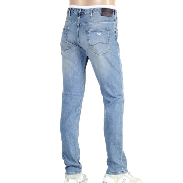 Blue Armani J06 Stonewashed Stretch Denim Jeans - Kitmeout
