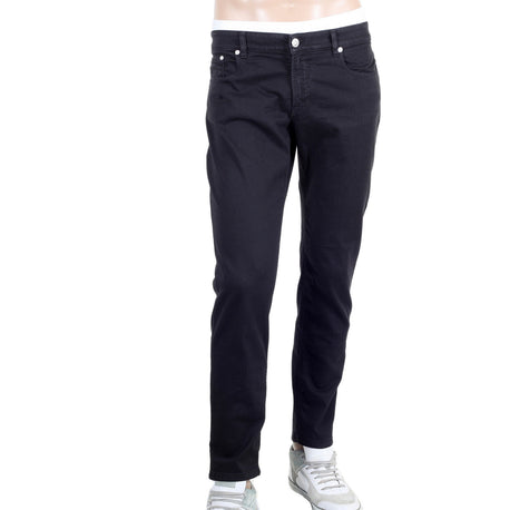 Versace Mens Black Stretch Lower Waist Jeans with Silver Lion Head Rivets