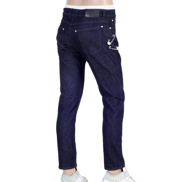 Low Waist Slim Fit Versus Dark Blue Denim Jeans with Removable Lion Head Safety Pins by Versace