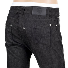 Versace Slim Fit Black Low Waist Jeans with Lion Head Rivets and Key Ring