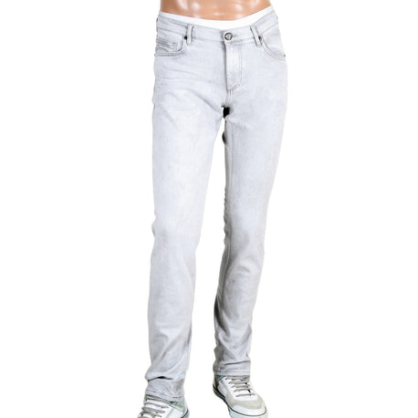 Versace Washed Grey Slim Fit Jeans with Stylish VJ Emblem Logos