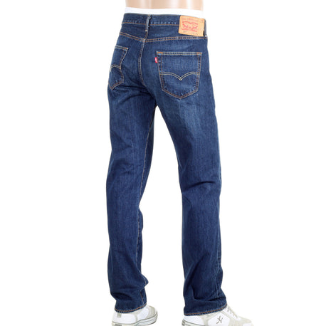 Levis Iron State 501 Original Fit Washed Dark Blue Jeans with Whiskering and Fading - Kitmeout