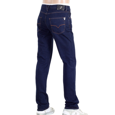 Regular Fit Dark Blue Versace Stretch Jeans with Lower Waist
