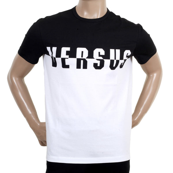Versace Versus Short Sleeve Crew Neck Monochrome Black and White Logo Tee Shirt