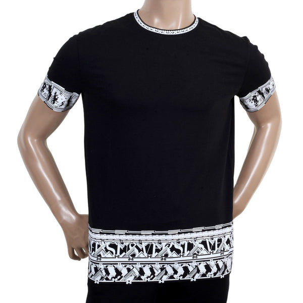 Mens Short Sleeve Crew Neck Cotton Versace T Shirt with Lion Head Border Print