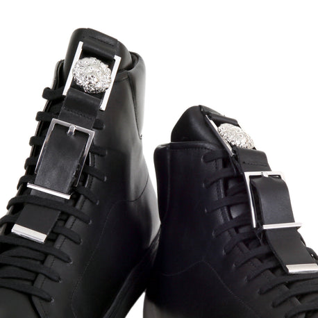 Versus Verasce Black Leather Trainers with Silver Lion Head Logo Buckle - Kitmeout