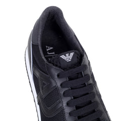 Armani Jeans Trainers Laced Front Black Low Top Sneakers with Self Coloured AJ Logos - Kitmeout