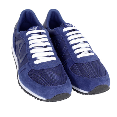 Armani Jeans Trainers Blue Laced Front Low Top Sneakers with Nylon Uppers and Leather Trim - Kitmeout