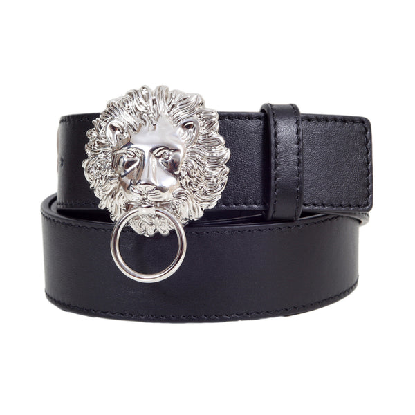 Versace Versus Black Leather Belt for Men with Lion Head and Ring Silver Buckle