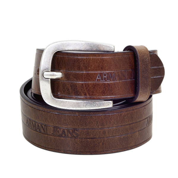 Armani Brown Casual Belt for Men. Dull metal rectangular buckle