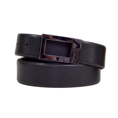Boss Black Belt Fully Reversible 50307801 Ocarol Grain Leather Belt with Gunmetal Grey Buckle - Kitmeout