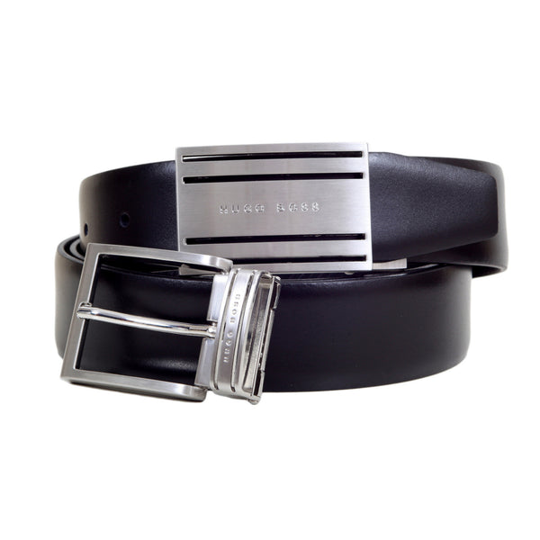 Boss Belt with Two Logo Embossed Changeable Buckles by Hugo Boss Black - Kitmeout