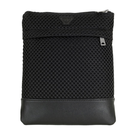 Armani Black Messenger Bag with AJ Logo Badge