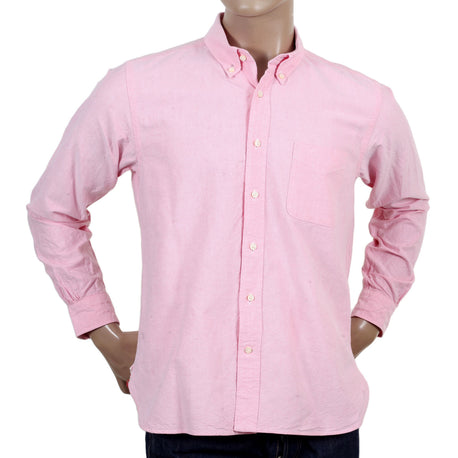 Sugar Cane Regular Fit Cotton Oxford Long Sleeved Pink Shirt
