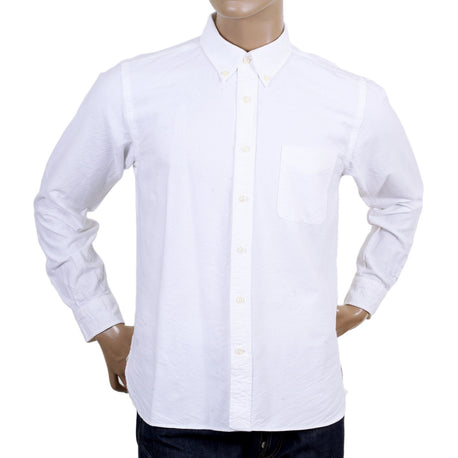 Sugar Cane Classic Styled One Wash Off White Oxford Shirt