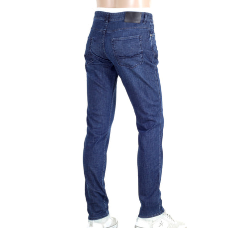 Hugo Boss Black Jeans Washed Indigo Blue Stretch Slim Fit Jeans - Kitmeout