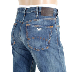 Armani jeans J21 Worn Finish Stretch Denim with Silver Metal Eagle Logo
