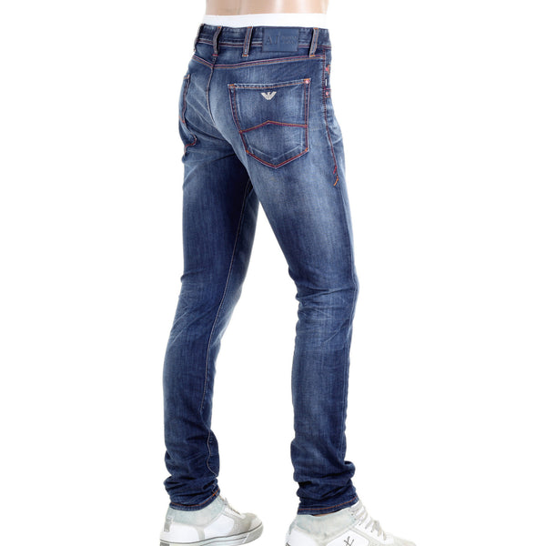 Armani J35 Repair Patch and Heavy Fading Extra Slim Fit Jeans - Kitmeout