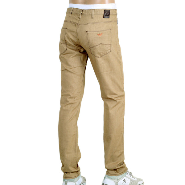 Armani J06 Slightly Cotton Beige Jeans with Zip Fly - Kitmeout