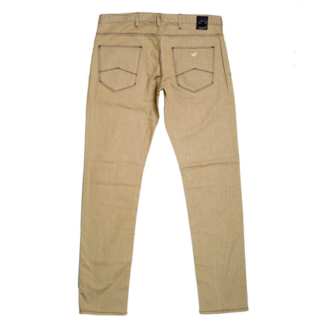 Armani J06 Slightly Cotton Beige Jeans with Zip Fly