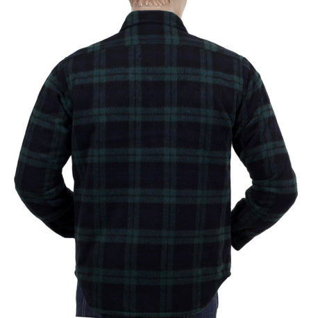 Green Sugar Cane Wool Mix Long Sleeve Checked  Overshirt
