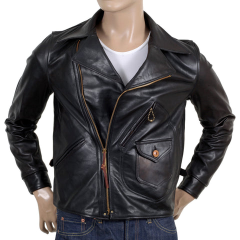 Sugar Cane Aviator  Heavy Weight Black Leather Jacket for Men